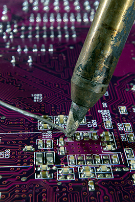 image of circuit board soldering
